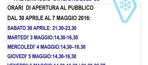 ULTIMA SETTIMANA DI APERTURA PALAGHIACCIO STAGIONE 2015-16