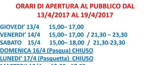 PALAGHIACCIO: APERTURE AL PUBBLICO VACANZE DI PASQUA