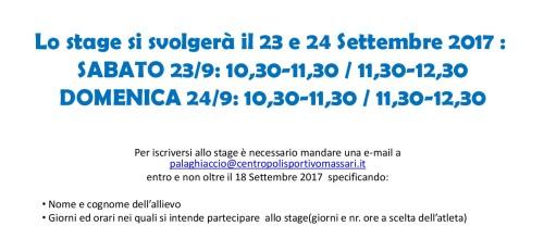 Stage gratuito pattinaggio 23 e 24 Settembre 2017