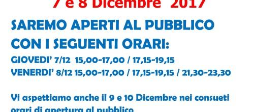 APERTURA STRAORDINARIA PALAGHIACCIO 7 E 8 DICEMBRE 2017